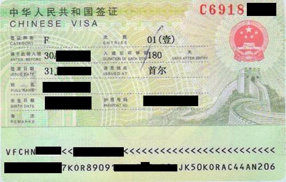 China Visa F