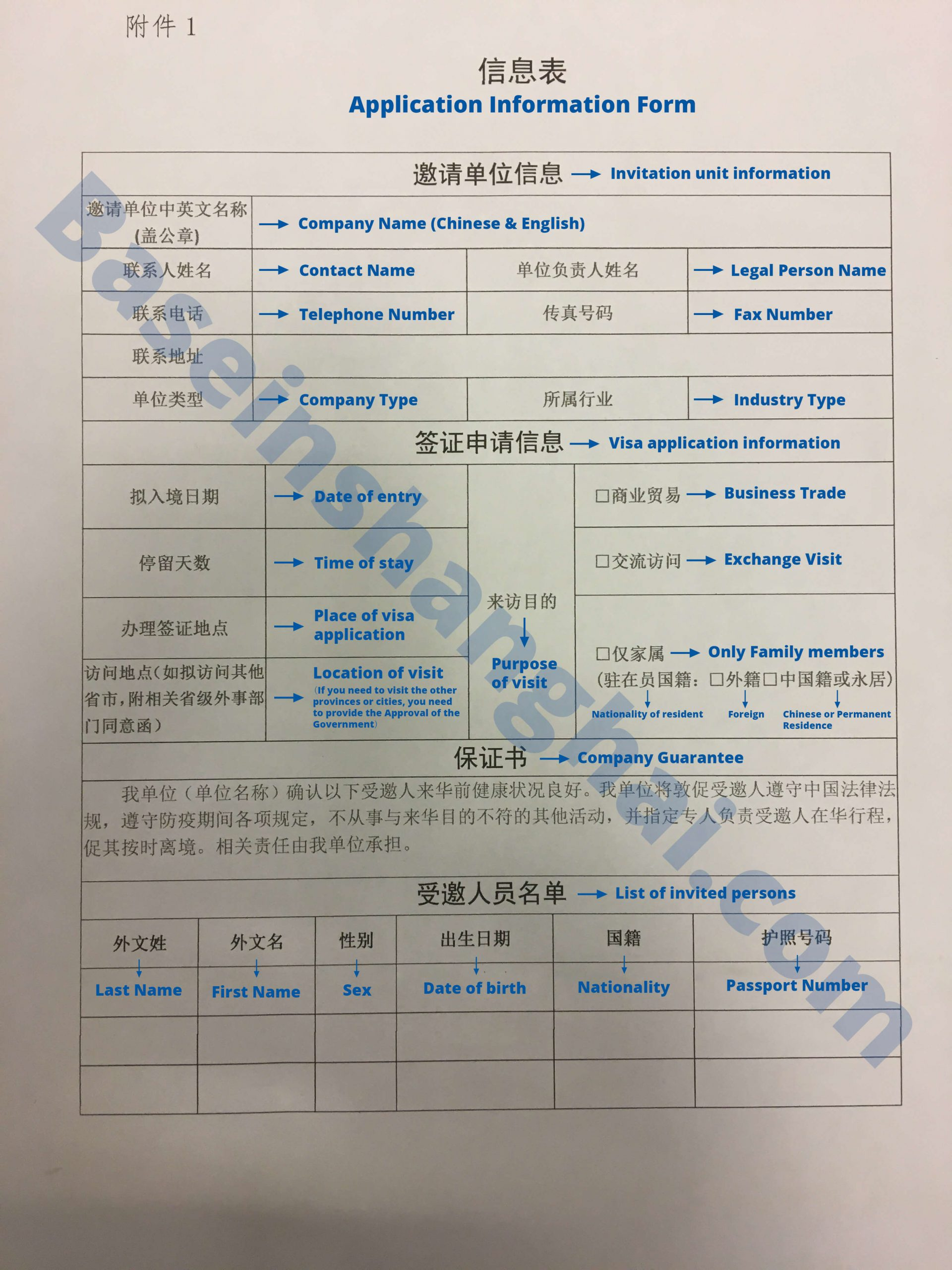 China PU letter application form