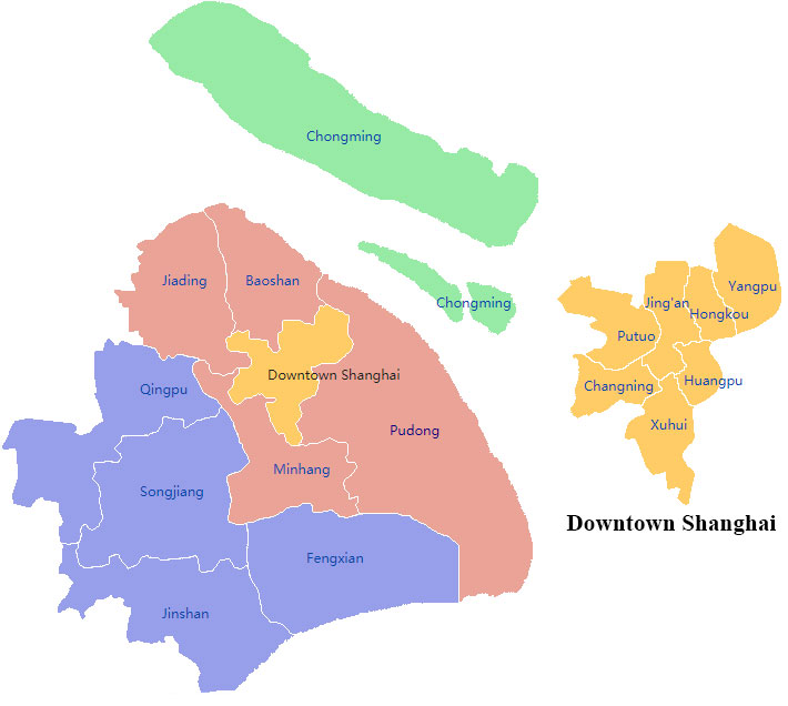 Shanghai districts map